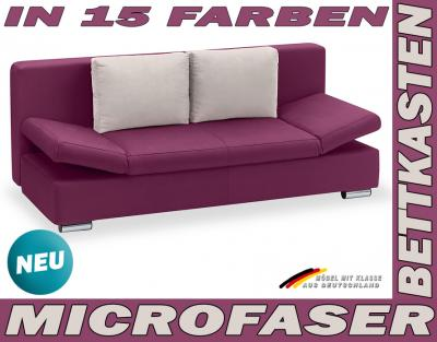 2er sofa schlafsofa bettsofa funktionssofa brombeer top ebay. Black Bedroom Furniture Sets. Home Design Ideas