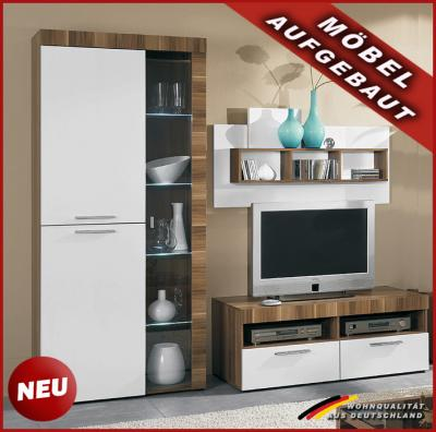 neu 3tlg wohnwand vitrine tv lowboard nussbaum wei ebay. Black Bedroom Furniture Sets. Home Design Ideas