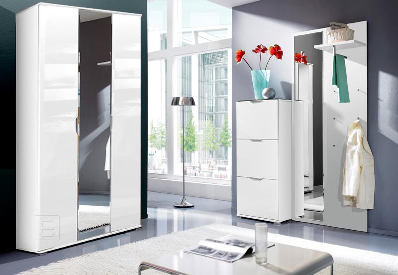 Top moderne hochglanz wei garderobe garderoben 4tlg set for Moderne garderoben set