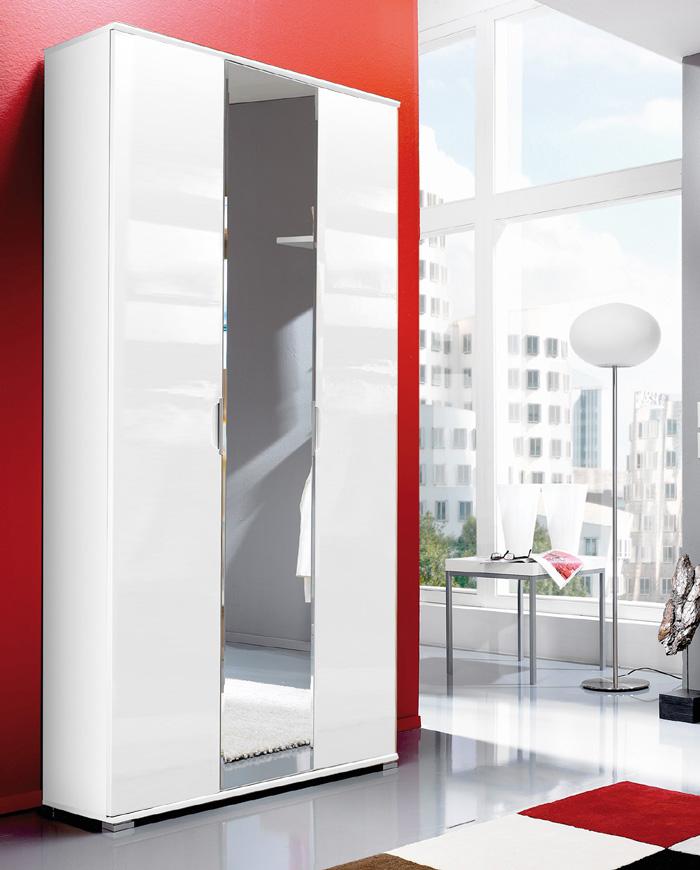 top hochglanz kleiderschrank spiegelschrank flurschrank in wei spiegelt r neu ebay. Black Bedroom Furniture Sets. Home Design Ideas