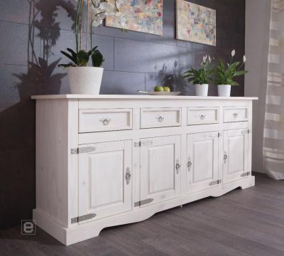 top esszimmer kommode mexican sideboard anrichte kiefer massiv wei lasiert ebay. Black Bedroom Furniture Sets. Home Design Ideas