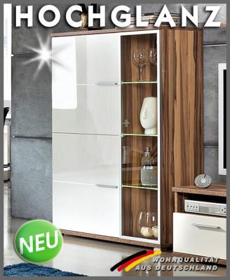 neu hochglanz vitrine highboard walnuss weiss top ebay. Black Bedroom Furniture Sets. Home Design Ideas