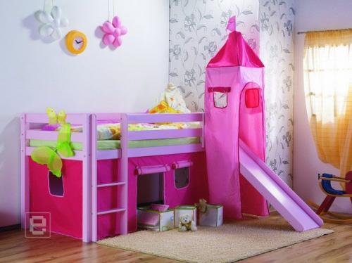 kinder hochbett spielbett rutsche komplett rosa neu ebay. Black Bedroom Furniture Sets. Home Design Ideas