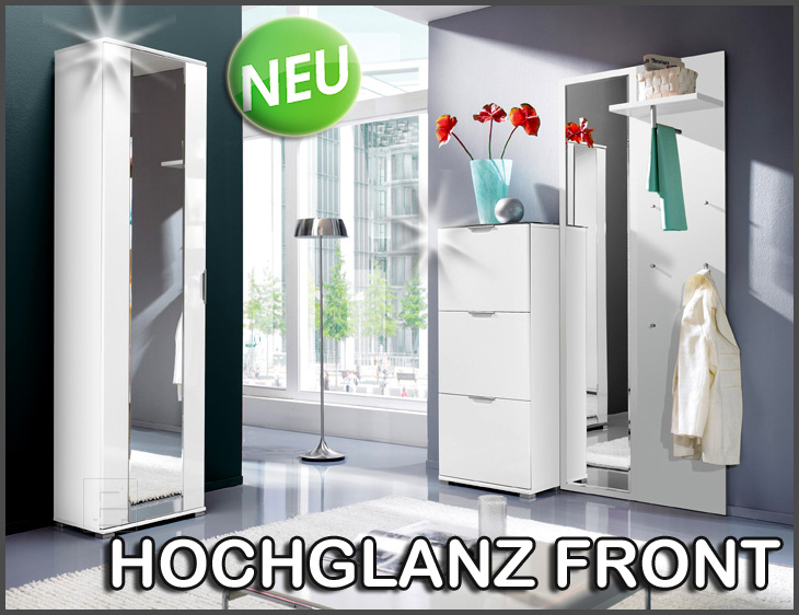neu 4tlg flur garderobe hochglanz weiss spiegel schuhschrank kleiderschrank ebay. Black Bedroom Furniture Sets. Home Design Ideas
