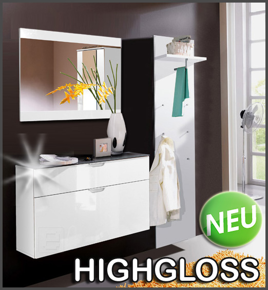 neu 3tlg flur garderobe hochglanz weiss schuhschrank spiegel paneel dielenm bel ebay. Black Bedroom Furniture Sets. Home Design Ideas