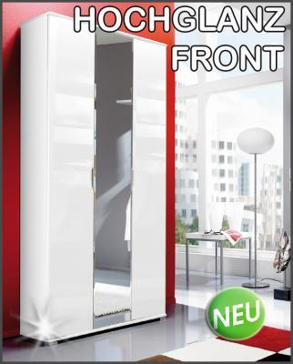 neu hochglanz dielenschrank kleiderschrank flurschrank weiss mit spiegelt r ebay. Black Bedroom Furniture Sets. Home Design Ideas