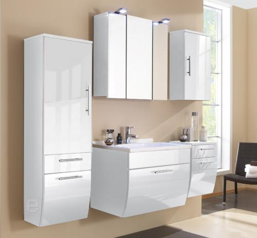 neu 5tlg badm bel set badezimmer waschplatz hochglanz weiss led spiegelschrank ebay. Black Bedroom Furniture Sets. Home Design Ideas