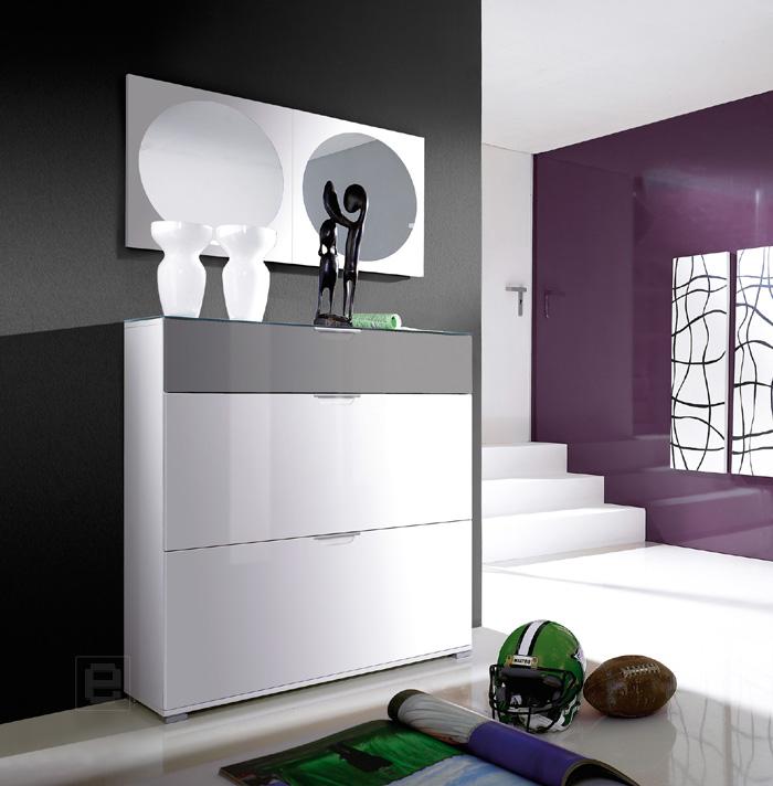 garderoben schuhschrank hochglanz wei grau schuhkipper schuhkommode flurschrank ebay. Black Bedroom Furniture Sets. Home Design Ideas