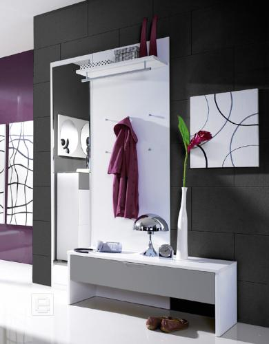 garderobenset hochglanz wei grau flurm bel flurgarderobe bank spiegel garderobe ebay. Black Bedroom Furniture Sets. Home Design Ideas