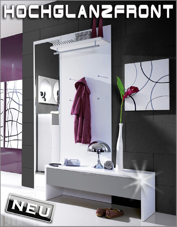 neu moderne garderobe paneel bank flurm bel hochglanz. Black Bedroom Furniture Sets. Home Design Ideas