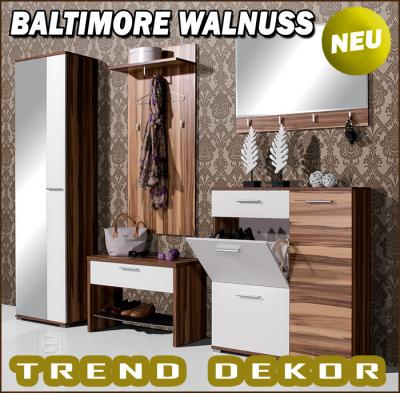 Garderobe flur dielenm bel 5tlgset walnuss nb wei neu ebay for Garderobe quadro walnuss