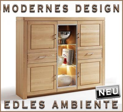 neu highboard vitrine buffetschrank in buche massiv ge lt wohnzimmer wohnm bel ebay. Black Bedroom Furniture Sets. Home Design Ideas