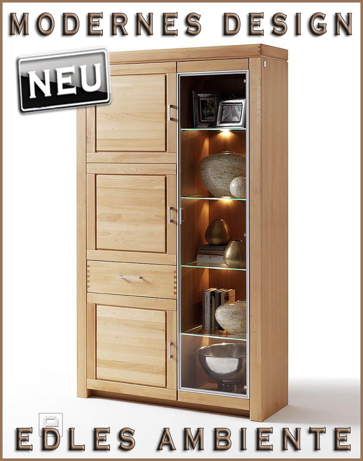 neu edle vitrine vtrinenschrank highboard buffet buche. Black Bedroom Furniture Sets. Home Design Ideas