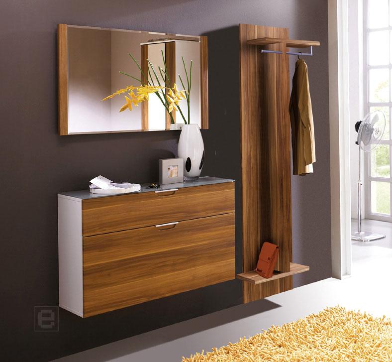 top 3tlg garderobe schuhschrank paneel spiegel walnuss dekor wei garderobenset ebay. Black Bedroom Furniture Sets. Home Design Ideas