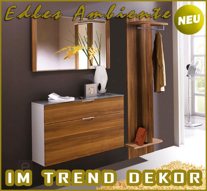 neu komplett garderobe 3tlg set flurm bel in walnuss weiss flurgarderobe eur 459 00. Black Bedroom Furniture Sets. Home Design Ideas