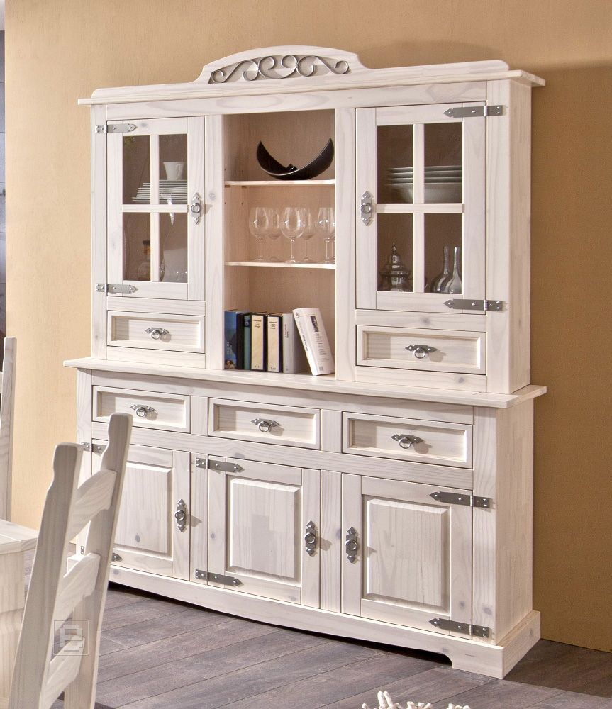 neu vitrinenschrank vitrine buffet massiv in wei k chenbuffet esszimmerschrank ebay. Black Bedroom Furniture Sets. Home Design Ideas