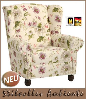 neu hochwertiger sessel ohrensessel mit blumenmuster ebay. Black Bedroom Furniture Sets. Home Design Ideas