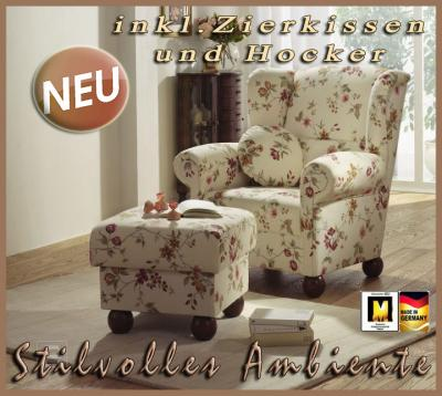 neu edler sessel ohrenbackensessel mit hocker kissen ebay. Black Bedroom Furniture Sets. Home Design Ideas
