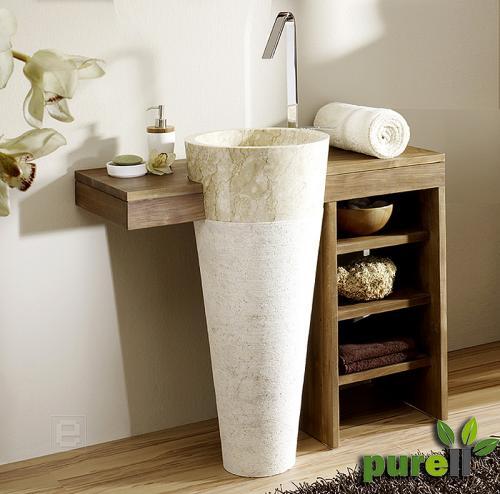 massiver teak marmor waschplatz waschtisch armatur neu ebay. Black Bedroom Furniture Sets. Home Design Ideas