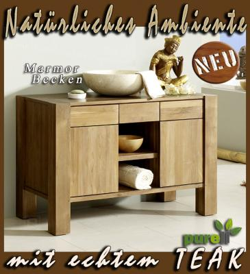 neu badm bel waschtisch massiv teak marmorbecken top ebay. Black Bedroom Furniture Sets. Home Design Ideas
