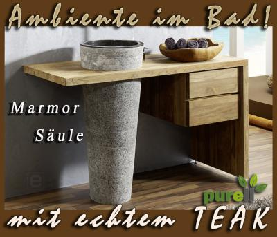 neu edler badm bel waschtisch teak marmor 3tlg set top ebay. Black Bedroom Furniture Sets. Home Design Ideas