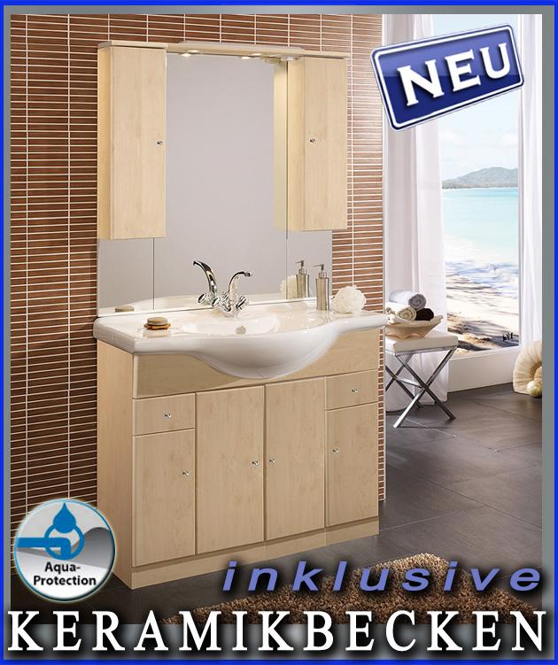 neu badezimmer waschplatz in birke badm bel keramikbecken badblock waschtisch ebay. Black Bedroom Furniture Sets. Home Design Ideas