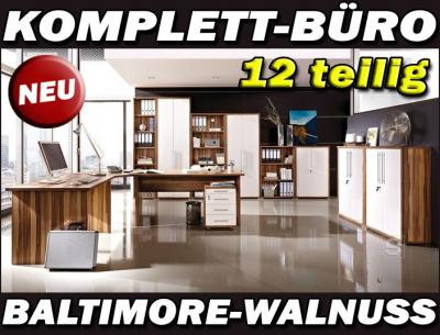 neu komplett b ro b rom bel 12tlg set in walnuss wei ebay. Black Bedroom Furniture Sets. Home Design Ideas