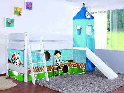 neu 4tlg vorhang f r hochbett kinderbett spielbett von relita im fu ball design ebay. Black Bedroom Furniture Sets. Home Design Ideas