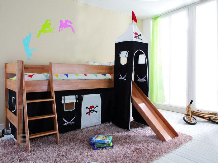 neu piraten vorhang set mit turm baumwolle etagenbett kinderbett hochbett ebay. Black Bedroom Furniture Sets. Home Design Ideas