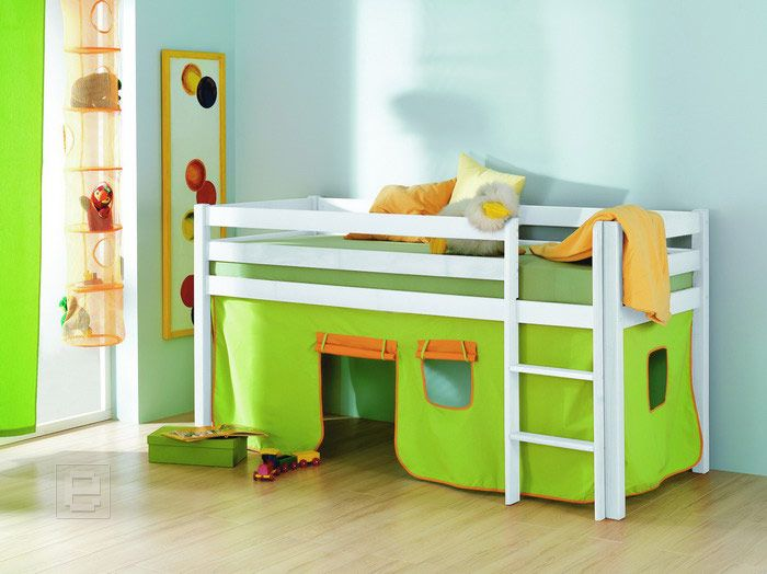 neu vorhang set baumwolle f r etagenbett kinderbett hochbett in gr n orange ebay. Black Bedroom Furniture Sets. Home Design Ideas