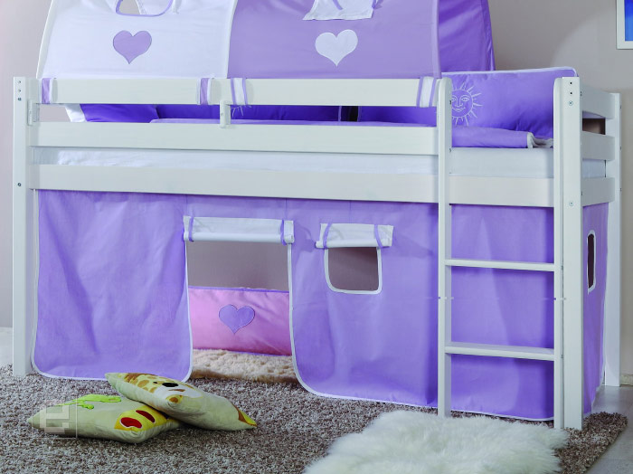 neu vorhang set baumwolle f r etagenbett kinderbett hochbett in purpel weiss ebay. Black Bedroom Furniture Sets. Home Design Ideas