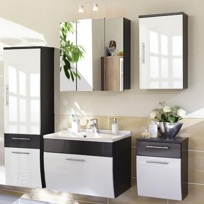 neu badezimmer badm bel 5tlg set hochglanz wei anthrazit spiegelschrank ebay. Black Bedroom Furniture Sets. Home Design Ideas