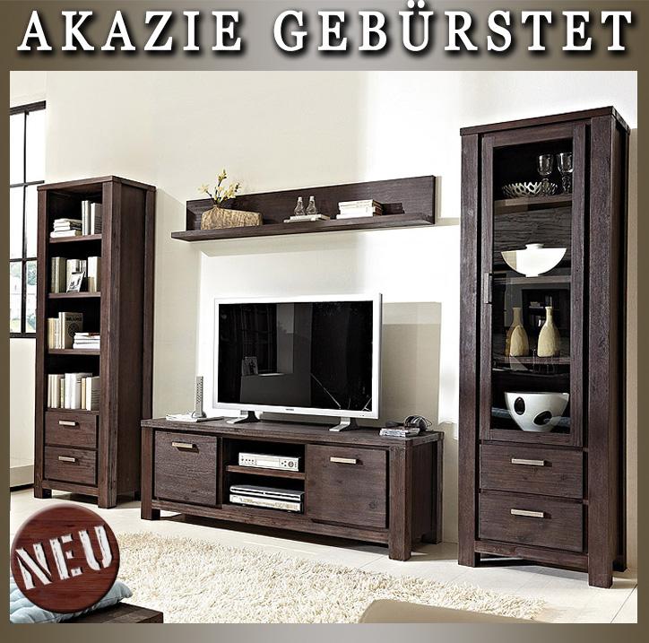neu edle wohnwand 4tlg vitrine regalschrank lowboard wandboard akazie massiv ebay. Black Bedroom Furniture Sets. Home Design Ideas