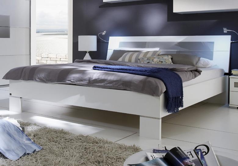 Doppelbett weiß  NEU*Modernes Futonbett Bett Doppelbett weiß mit grauem Glaseinsatz ...