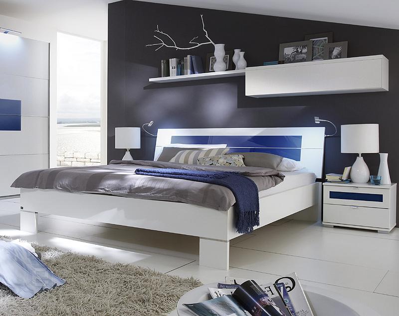 NEU* 5tlg Schlafzimmer 160cm Futonbett Nachttisch Wandboard weiß mit ...