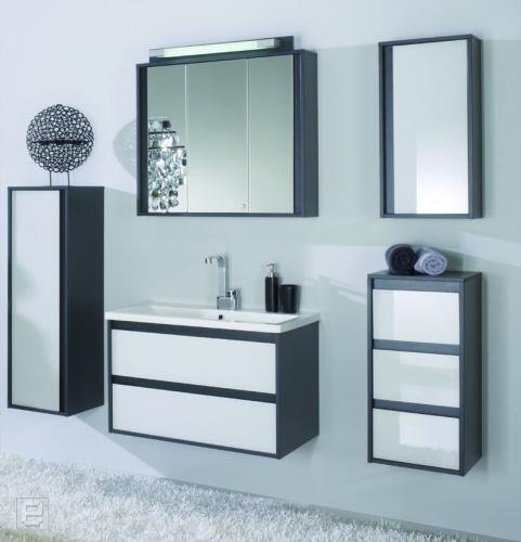 badm bel set anthrazit glas wei 6tlg badezimmer g ste wc bad spiegel schrank ebay. Black Bedroom Furniture Sets. Home Design Ideas