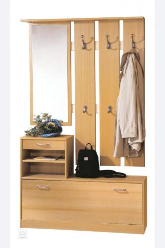 neu flur garderobe buche nachbildung schuhschrank spiegel wandgarderobe paneel ebay. Black Bedroom Furniture Sets. Home Design Ideas