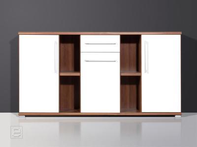 neu b rom bel sideboard b ro kommoden anrichte walnuss dekor wei glanzfront ebay. Black Bedroom Furniture Sets. Home Design Ideas