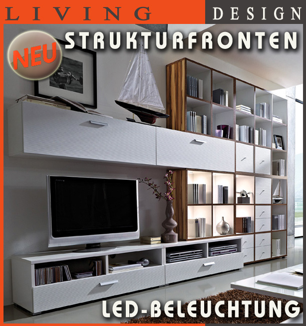 neu design wohnwand anbauwand schrankwand mit led b cherregal walnuss wei ebay. Black Bedroom Furniture Sets. Home Design Ideas
