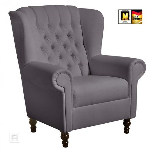 ohrenbackensessel ohrensessel in grau sessel chesterfield polstersessel sessel ebay. Black Bedroom Furniture Sets. Home Design Ideas