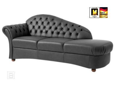 neu excl echt leder recamiere chaiselongue ottomane chesterfield look schwarz ebay. Black Bedroom Furniture Sets. Home Design Ideas