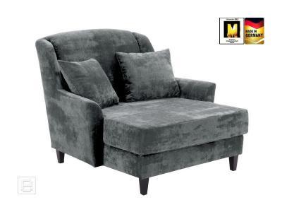 neu big sessel ohrensessel sessel fernsehsessel love seat velours grau 2 kissen ebay. Black Bedroom Furniture Sets. Home Design Ideas