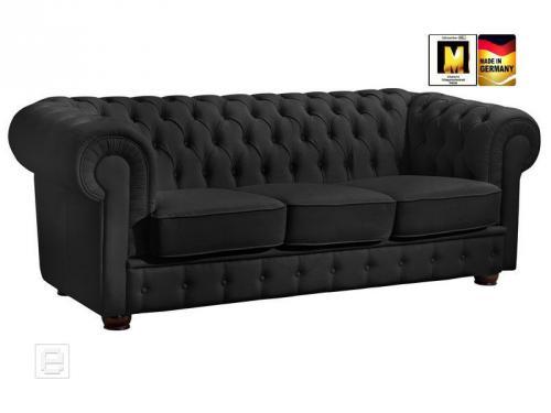 neu excl 3er sofa kunstleder schwarz couch 3 sitzer garnitur chesterfield ebay. Black Bedroom Furniture Sets. Home Design Ideas
