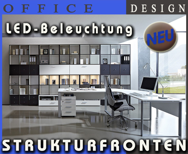 neu komplett b ro b rom bel b roeinrichtung anthrazit wei strukturfront led ebay. Black Bedroom Furniture Sets. Home Design Ideas