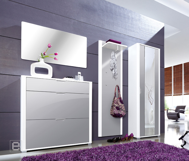 neu 4tlg hochglanz garderobe flurm bel schuhschrank kleiderschrank wei grau ebay. Black Bedroom Furniture Sets. Home Design Ideas