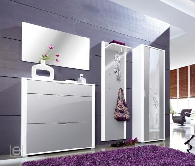 top 4 tlg hochglanz grau wei garderobe flurm bel. Black Bedroom Furniture Sets. Home Design Ideas
