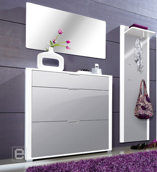 neu 2tlg hochglanz garderobe flurm bel schuhschrank spiegel paneel wei grau ebay. Black Bedroom Furniture Sets. Home Design Ideas