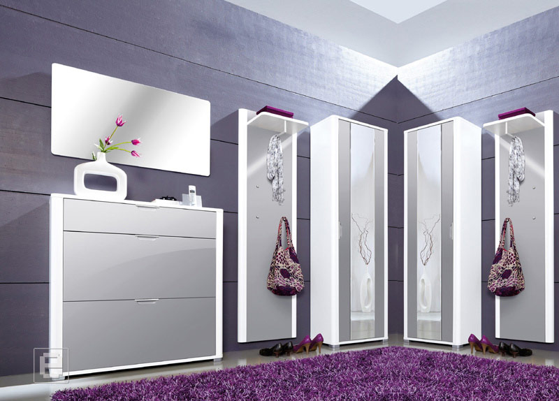 neu 6tlg hochglanz garderobe flurm bel schuhschrank kleiderschrank wei grau ebay. Black Bedroom Furniture Sets. Home Design Ideas