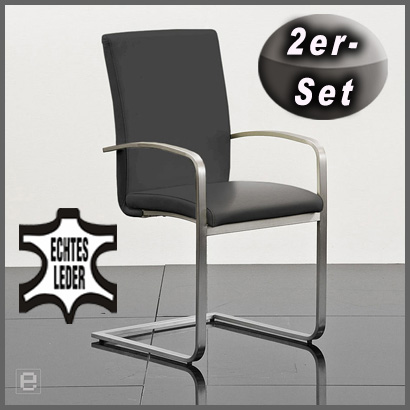 neu 2er set edelstahl schwingstuhl echt leder grau freischwinger armlehnsessel ebay. Black Bedroom Furniture Sets. Home Design Ideas