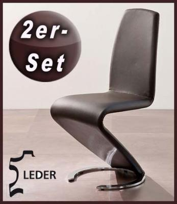 neu 2er set design freischwinger echt leder braun. Black Bedroom Furniture Sets. Home Design Ideas